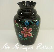 Große Vase Opalinglas Schwarz Mundgeblasen Vintage Blumen Dekor Handmalerei