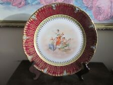 Antique Unmarked Cabinet Plate Burgundy Red Heavy Gold Portrait Scene Signed 9.5