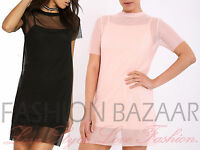 New Womans Mesh Overlay Long T Shirt Mini Shift Dress Cheap Party Holiday Top BN