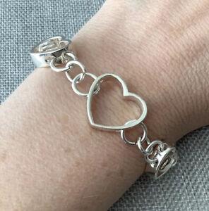"""925 Sterling Silver Open Heart Love Link Chunky Bracelet 7.5"""" 16gr"""