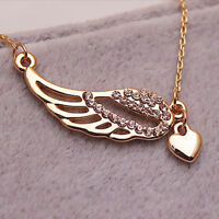 Fashion Crystal  Gold Fairy Angel Wings Heart Love Valentine Chain Necklace