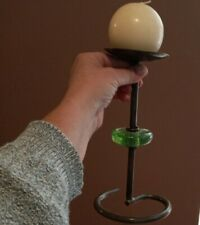 Vintage simple Wrought Iron green glass Free Standing Candle Holder