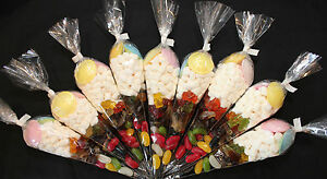 10 Party Cones Goody Bags Birthday Sweets With Ribbon Kids Candy Pre Filled