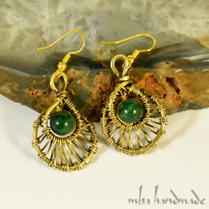 Natural Stone Jade Crystal Beads Brass Wire Wrap Handcrafted Earrings