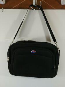 American Tourister Black Laptop Briefcase Bag, Padded Shoulder Strap, #1692