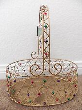 Antique Gold Metal Mesh Wire Oval Basket Multi-Color Bead Decoration Handle