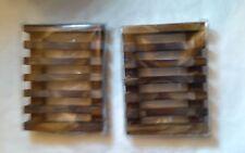2 Piece Bathroom Soap Case Holder Natural Wooden Holder for Sponges Scrubber US