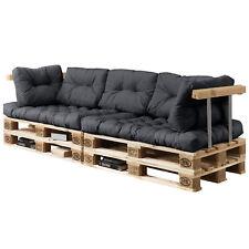 [en.casa]Canapé d'angle en palettes 7x coussins siège & dossier gris foncé