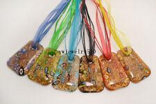 Wholesale 12Pcs Square Gold Sand Murano Glass Pendants Silver P Necklace FREE