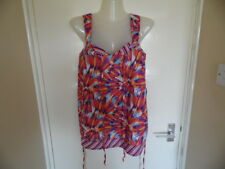 Ladies Multi colour tie neck and waist strappy top size 14 euro 42