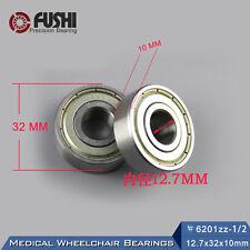Wheelchair Rear Wheel Drum Bearing 1/2 inch (2PC) 12.7x32x10mm 6201 ZZ Bearings