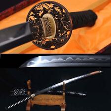 Damascus Sharp Katana Japanese Samurai Sword Folded Steel Clay Tempered Blade