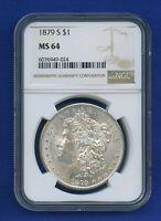 1879 S NGC MS64 Morgan Silver Dollar $1 US Mint 1879-S NGC MS-64 PQ Coin !