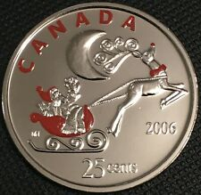 Special Quarter - Canada 2006 P Santa in Sleigh Colored 25 Cent Coin, BU / UNC