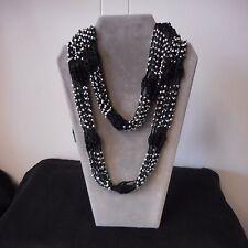 NEW Infinity-style BLACK Neck Wrap/Scarf w/Silver Bead Embellishments