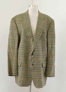 Vtg Burberry Burberrys London Green Plaid Virgin Wool Blazer Sport Coat Size 54