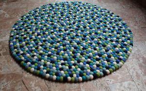90 cm Felt Pom Pom Area Rugs, Round Felt Area Ball Rugs and Carpets