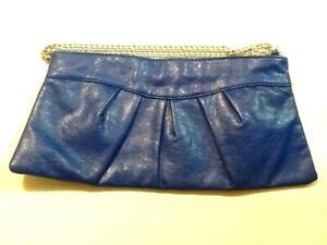 NEW BLUE PLEATED PURSE CLUTCH SHOULDER CROSSBODY BAG URBAN METAL CHAIN STRAP