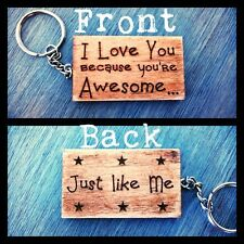 Engraved Plywood Keyring, gift idea, Boyfriend/girlfriend/husband/wife Valentine