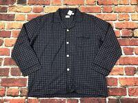 J CREW Men's Sleep Shirt NIGHTSHIRT Size XL Cotton FLANNEL Gray Blue Black Plaid