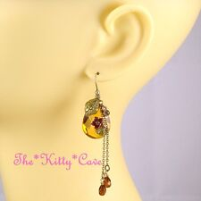 Gypsy Boho Fairy Shabby Chic Enamel Floral Leaves Earrings w/ Swarovski Crystals