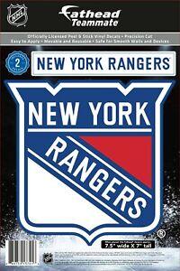 "NHL NEW YORK RANGERS 2 PC. FATHEAD TEAMMATE VINYL DECAL LICENSED 7.5x7"""