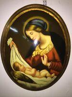 Quadro capezzale Madonna Del Velo barocco dipinto olio Su medaglione oro 40x50