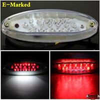 E-Marked 12V Universal Motorcycle LED Brake Stop Tail Light w/License Plate Lamp