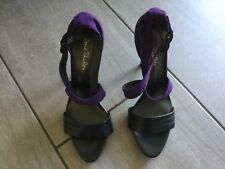 Jane Shilton Ladies Black & Purple Heeled Strappy Shoes Size 41 Great Condition.