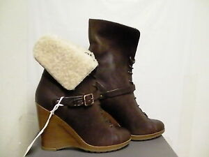 Womens ugg collection boots caprera wedge brown leather new made in Italy