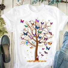 Tree Butterfly Ladies T-Shirt S-5XL White Cotton