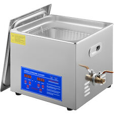 New Stainless Steel 15 L Liter Industry Heated Ultrasonic Cleaner Heater Withtime