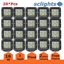 20X 16W LED Work Light Off-road Cube Pods Flood Tractor Square 3''inch 12V 24V