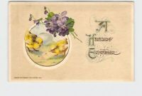 ANTIQUE POSTCARD HAPPY EASTER WINSCH CHICKS VIOLETS EMBOSSED