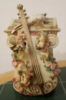 "Collectible Kingspoint Designs Music Box Violin Cherubs Angel Roses 8"" Tall"