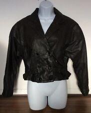 Ladies Cropped Leather Biker Jacket Black Vintage Oversized Button Up 80s M 12