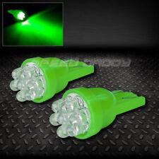 PAIR T10 194 168 501 W5W GREEN INTERIOR DOME WEDGE LIGHT BULB/BULBS w/7X 3MM LED