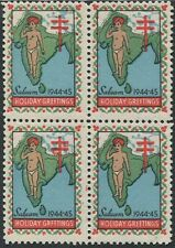 India 1944-45 Christmas TB charity stamp block of 4 MNH - Map of India