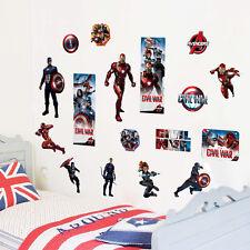 Gli Avengers 3D Rimovibile Parete Adesivo PVC Vinile Arte Decalcomanie Nursery Room UK
