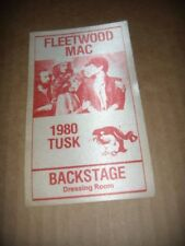 "Fleetwood Mac Pass Backstage Dressing Room ""Tusk"" 1980 VF Cloth     Red"