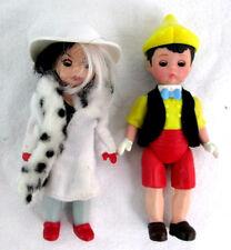 "Madam Alexander Lot of 2 Dolls Boy & Girl Pinocchio & Cruela Devil Plastic 5.25"""