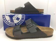 BIRKENSTOCK Women Arizona Black Leather Slides Sandal Shoes Sz 9 EU40 ZB6-18
