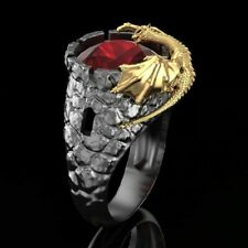 Crystal Jewelry Men's Banquet Party Ring Punk Style Men's Ring Golden Dragon