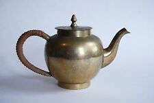 Vintage Brass Teapot with woven handle, Marked DIA