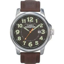 """Timex T44921, Men's """"Expedition"""" Brown Leather Watch, Indiglo, Date, T449219J"""