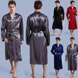 Mens Satin Silk Pajamas Kimono Bathrobe Robe Dressing Gowns Pjs Loungewear