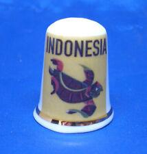 Birchcroft China Thimble - Travel Poster Series - Indonesia - Free Dome Gift Box