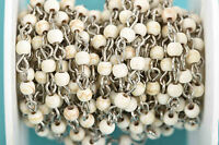 3ft WHITE Howlite Rosary Bead Chain silver links, 4mm round stone beads fch0607a