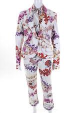 Just Cavalli Womens Denim Silk Floral 3 Piece Pants Suit White Pink Size M/29