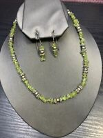 Vintage Peridot Stone Freshwater Pearl Beaded necklace Pierced Earrings 16""